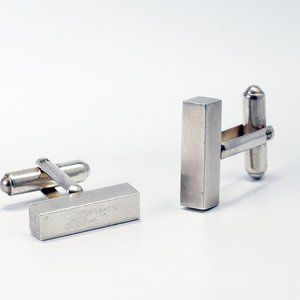 Modern Sterling Silver Ingot Bar Cufflinks
